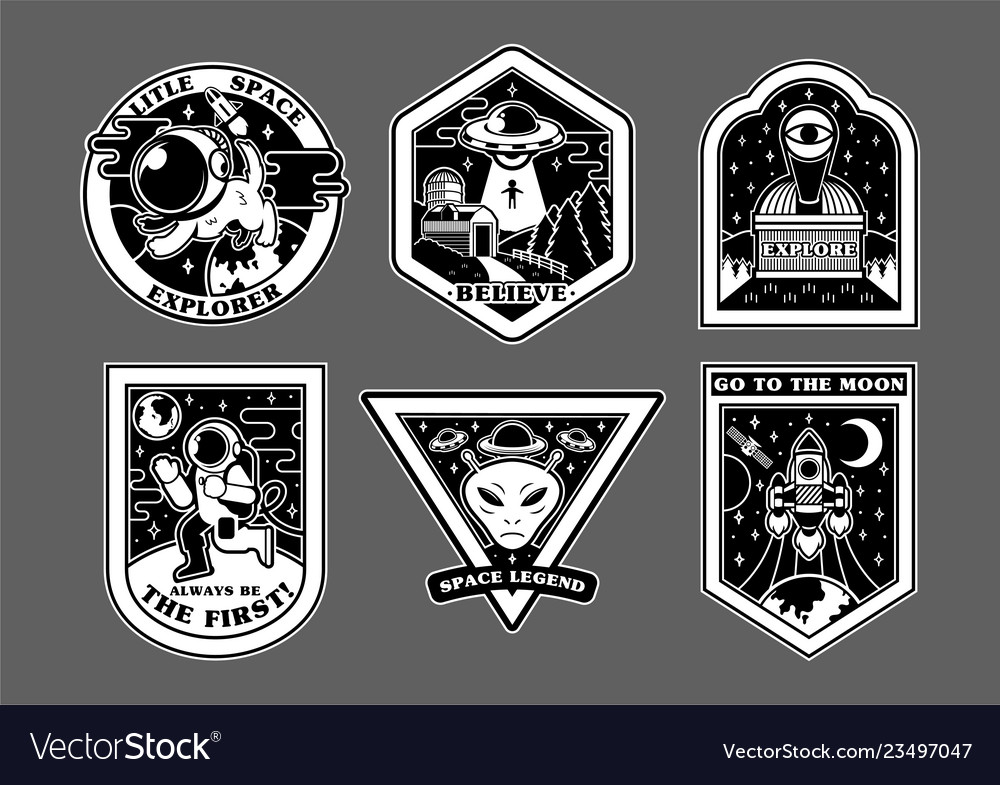 Space set stickers patches prints icons