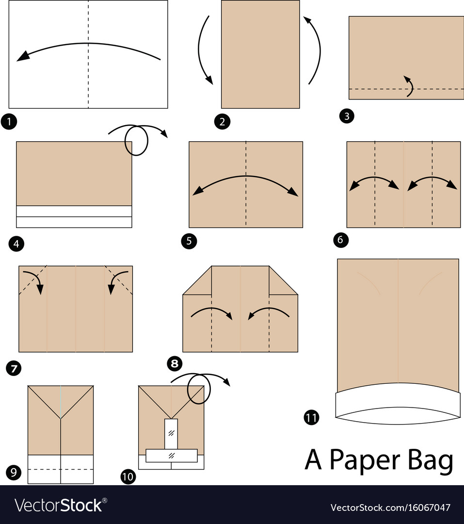 Step Instructions How To Make Origami A Paper Bag