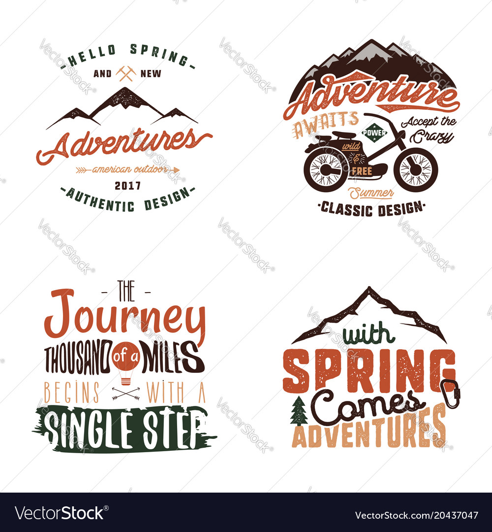 Vintage Adventure Tee Shirts Designs Summer Logo Vector Image