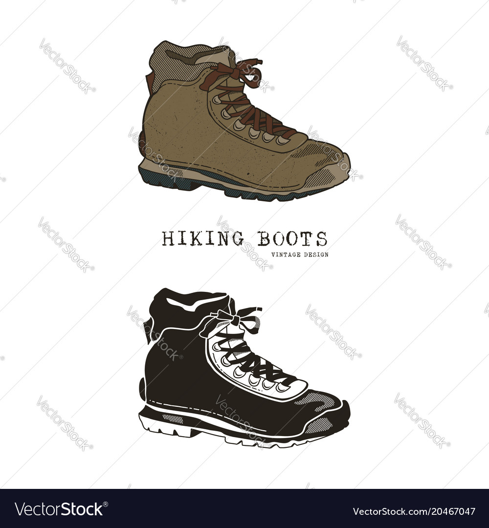 Vintage hand drawn travel boots in retro color and