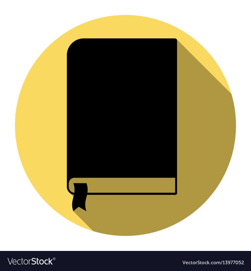 Book sign flat black icon with flat vector image