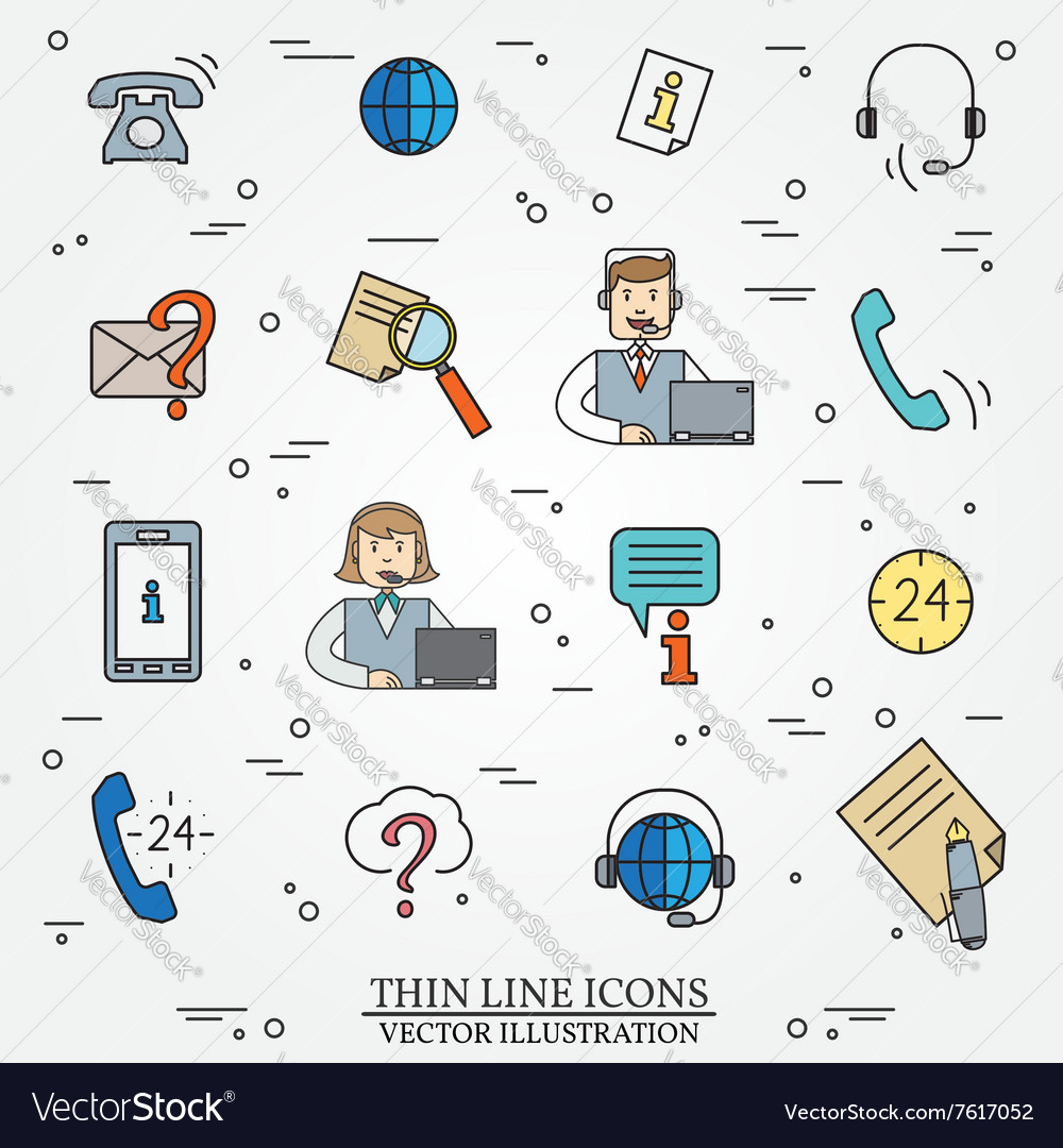 Call center question answer service outline thin l vector image