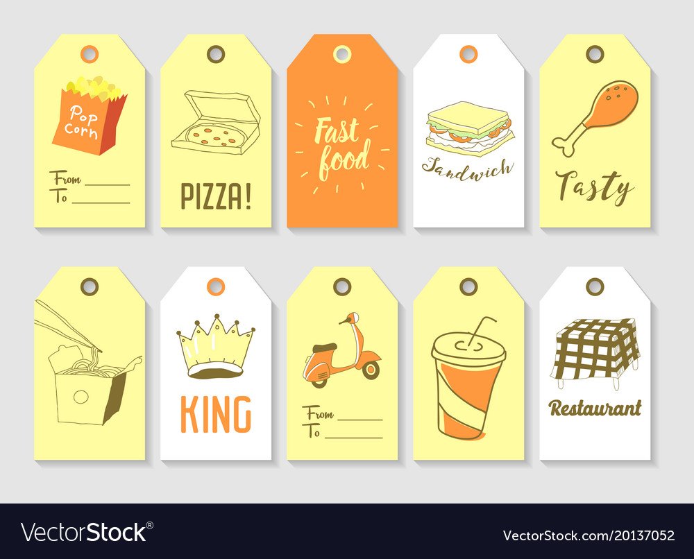 Fast food hand drawn tags collection vintage