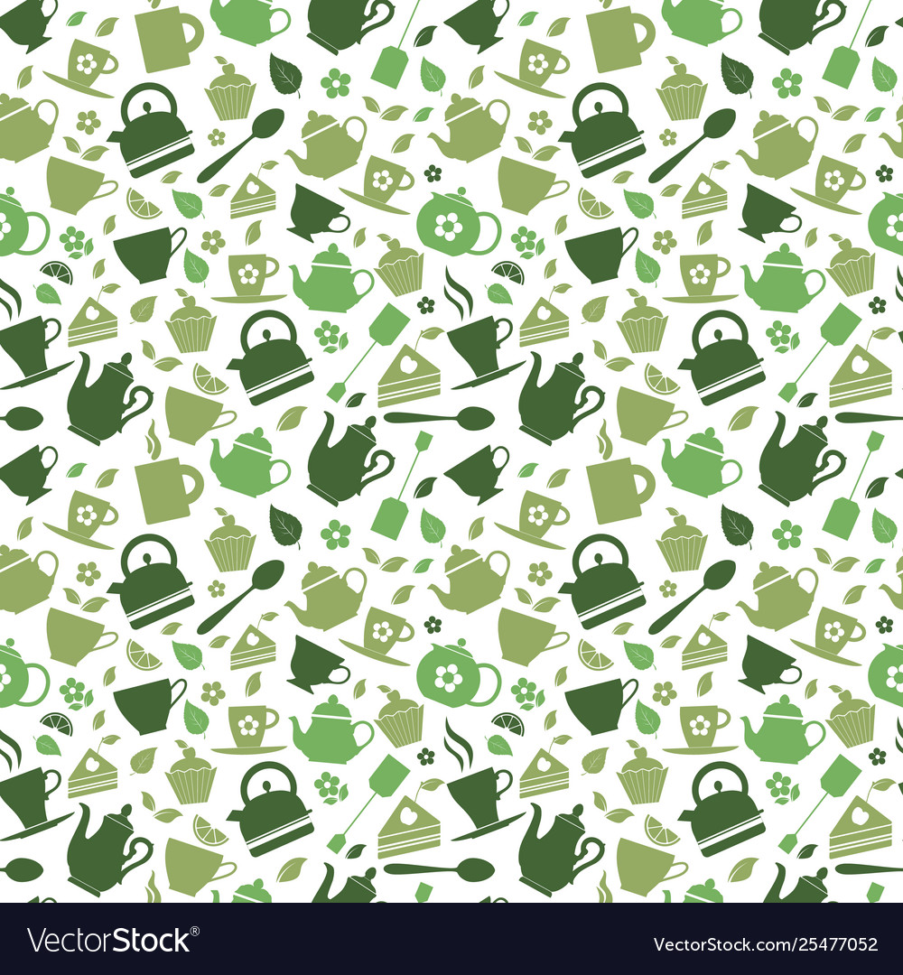 Green tea set icons on green background