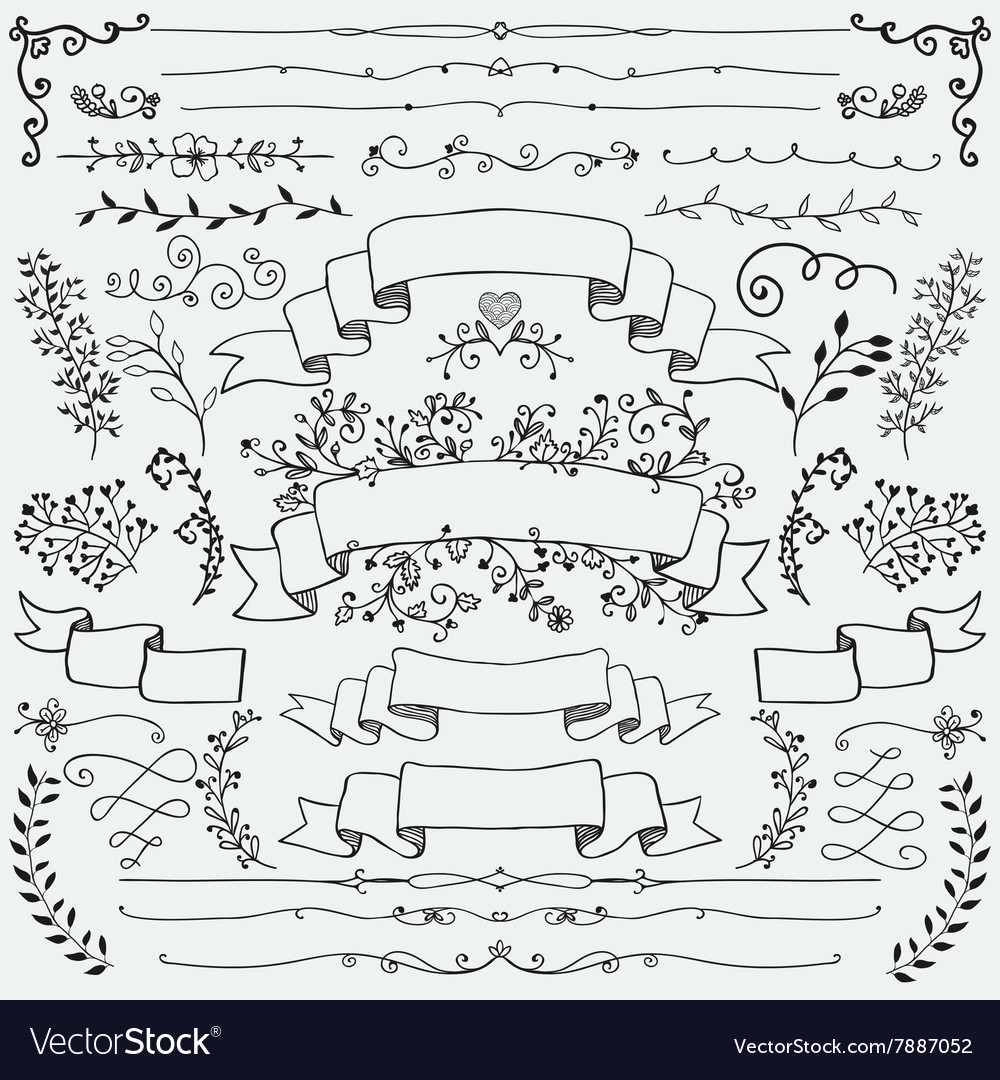 Hand Drawn Floral Design Elements Ribbons