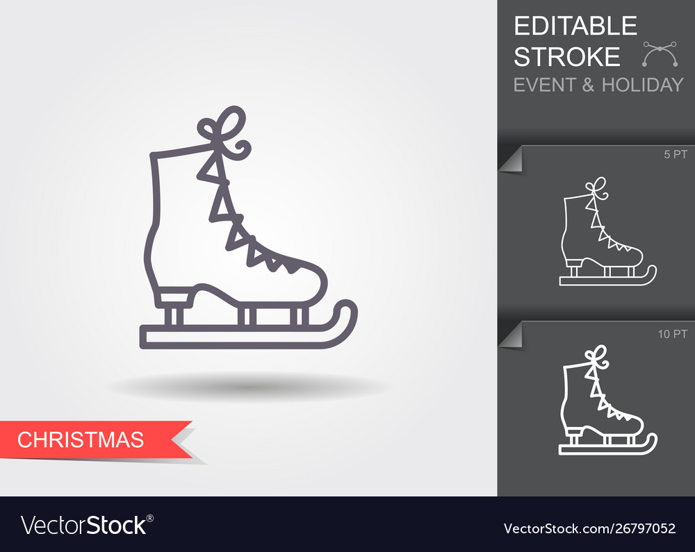 Ice figure skate line icon with editable stroke
