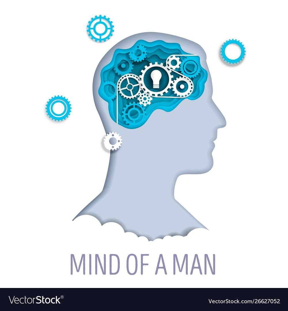 Mind a man in paper art