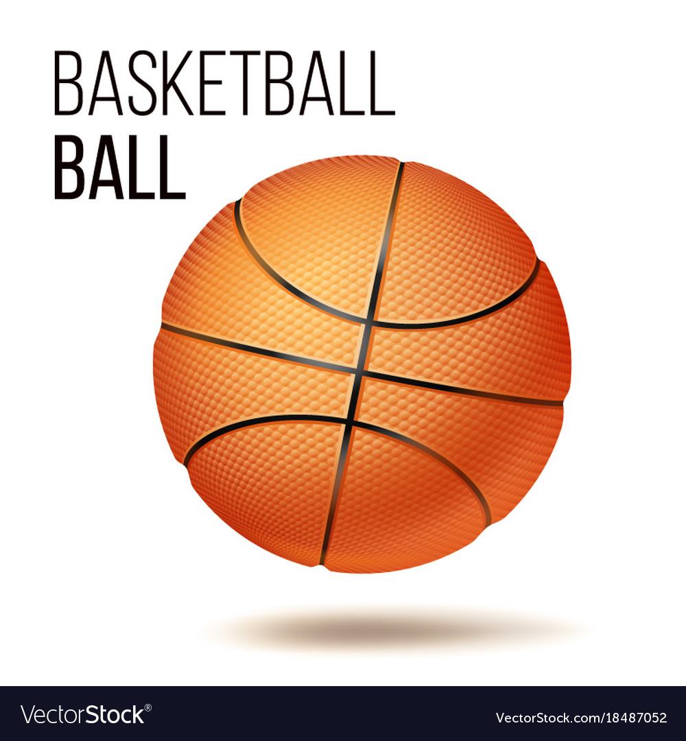 Orange basketball ball isolated realistic
