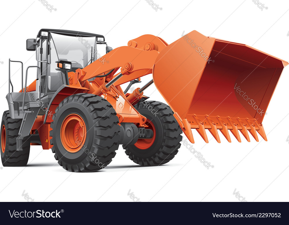 Orange front end loader