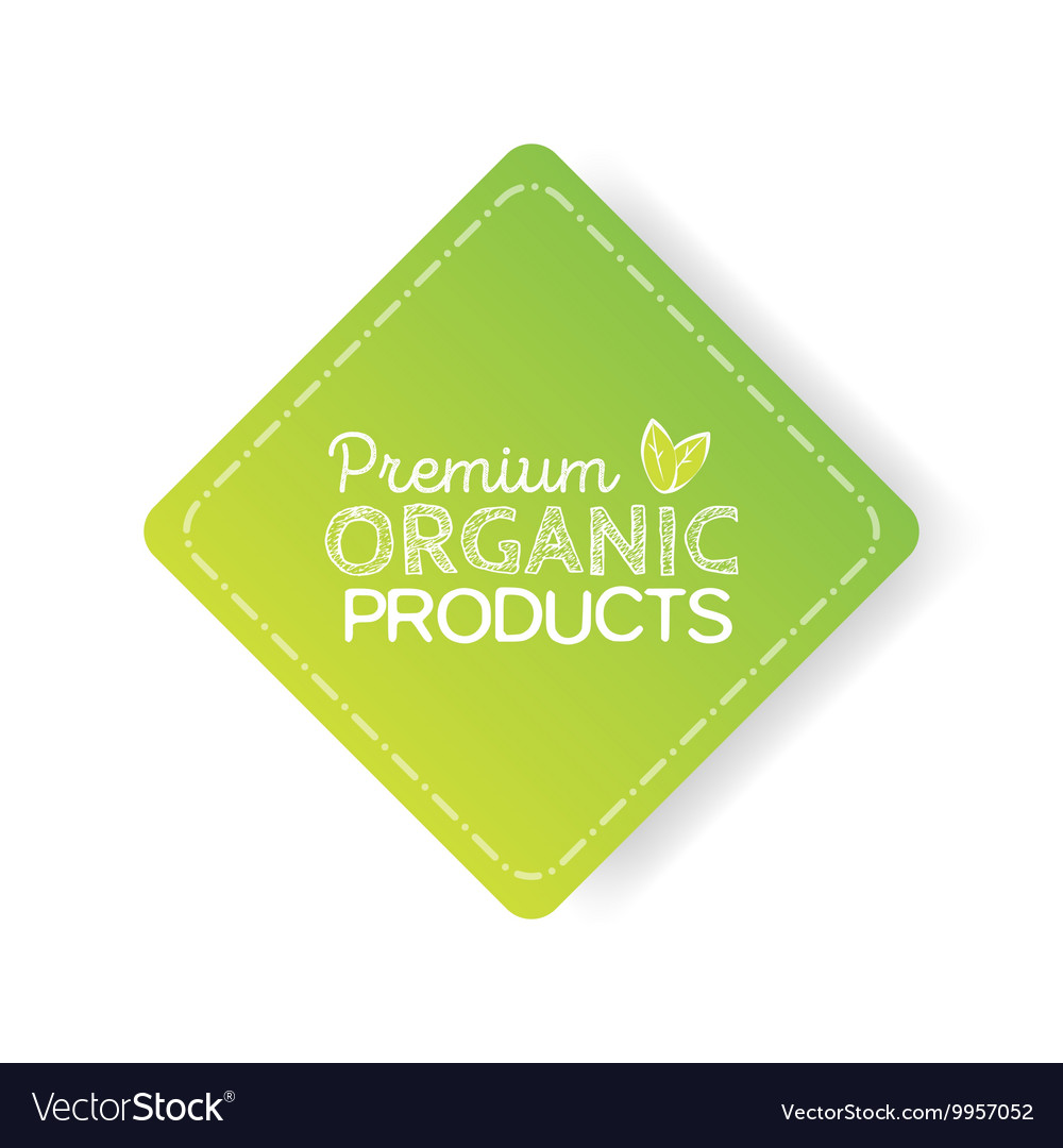 Organic product badge vintage label with hand vector image