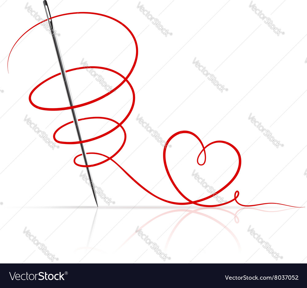 Sewing Needle with Red Thread vector image