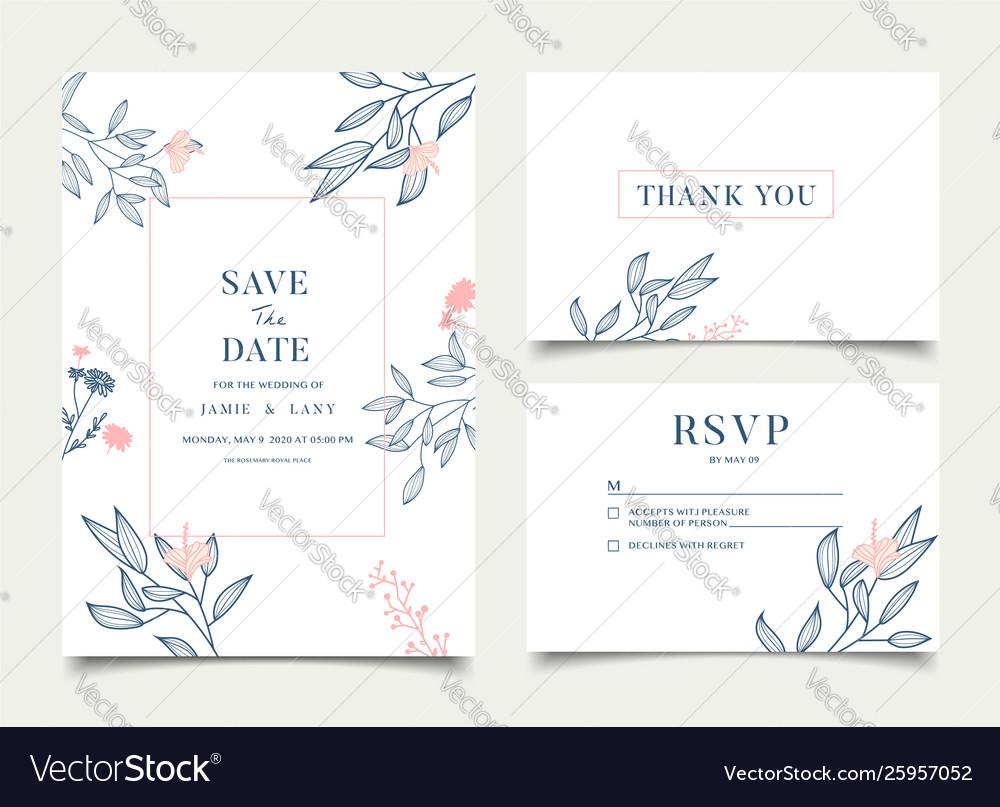 Simple floral celebration wedding card invitation