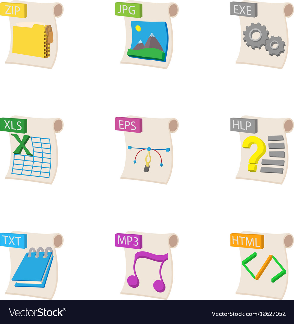 Types of files icons set cartoon style
