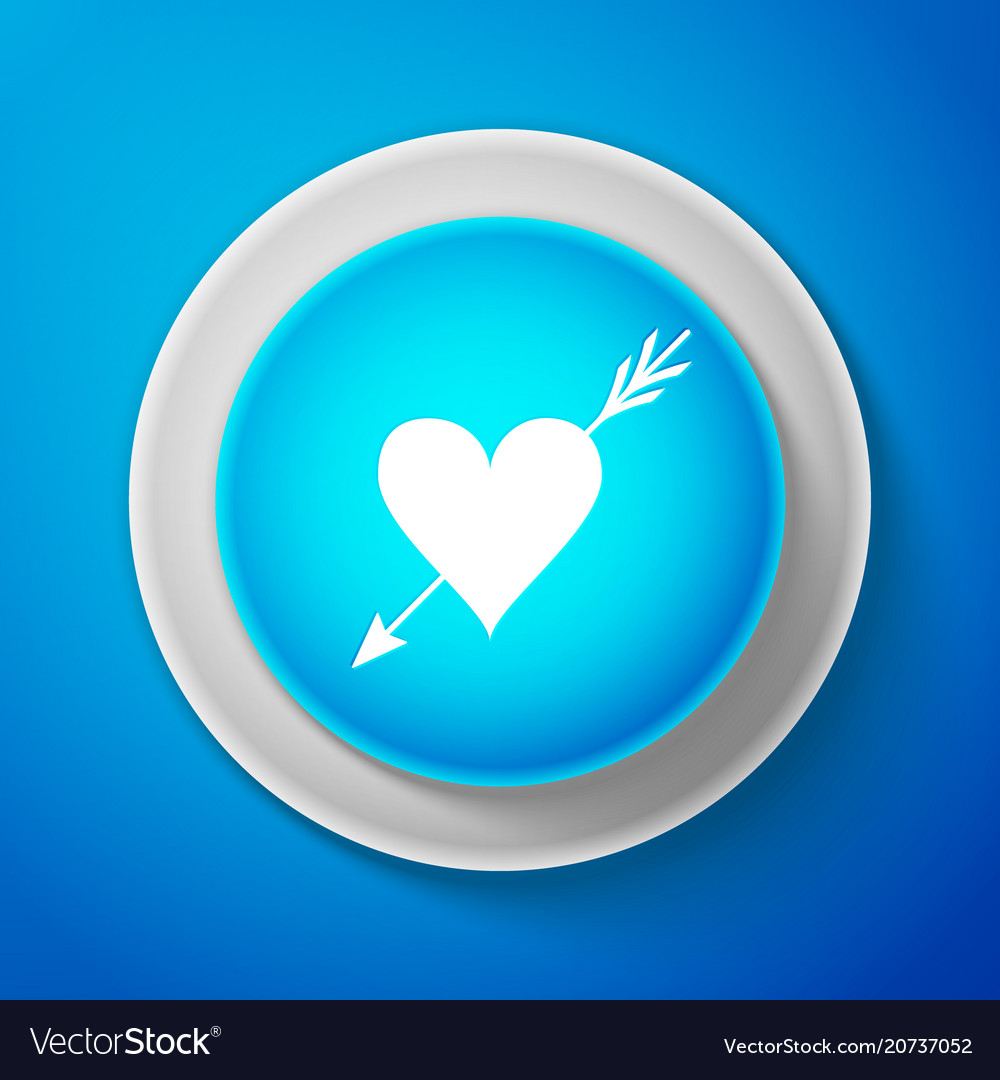 White amour symbol with heart and arrow icon