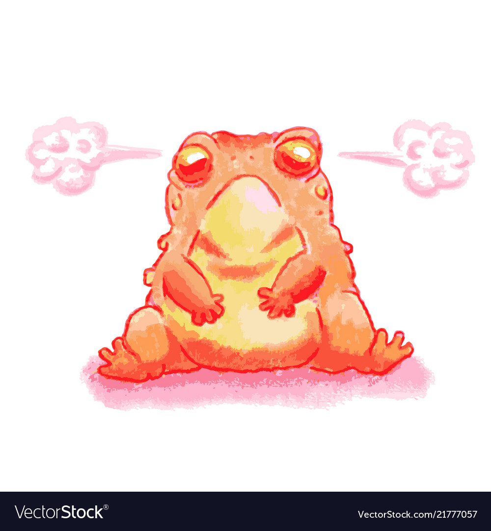 A cartoon of a frog looking angry