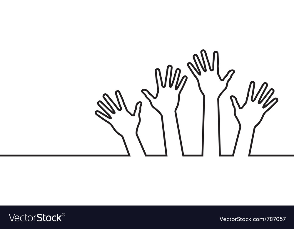 Black line of hands