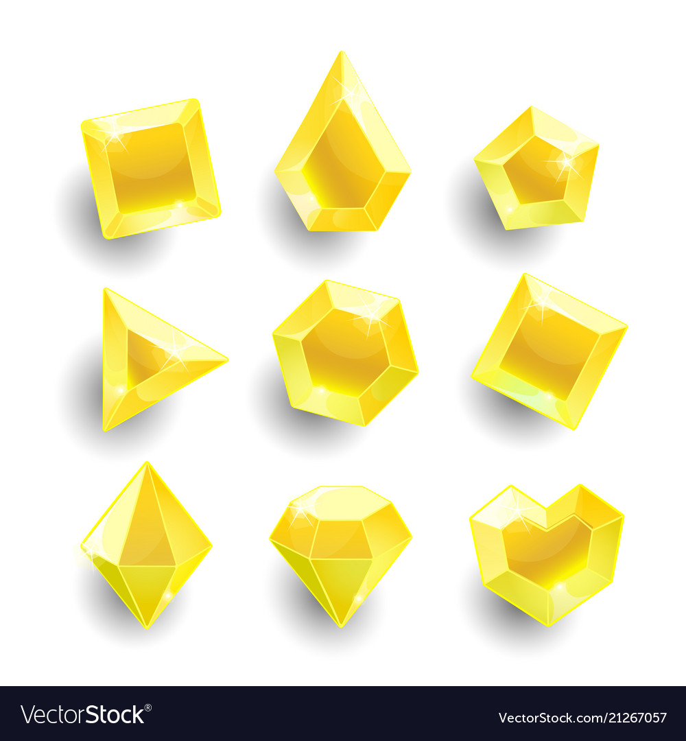 Cartoon yellow different shapes crystals