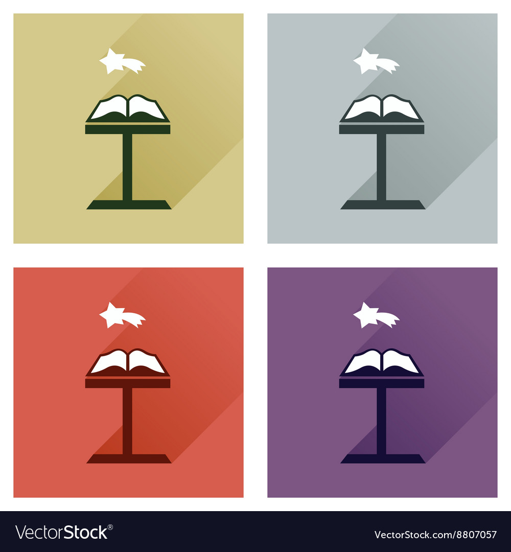Concept of flat icons with long shadow holy bible