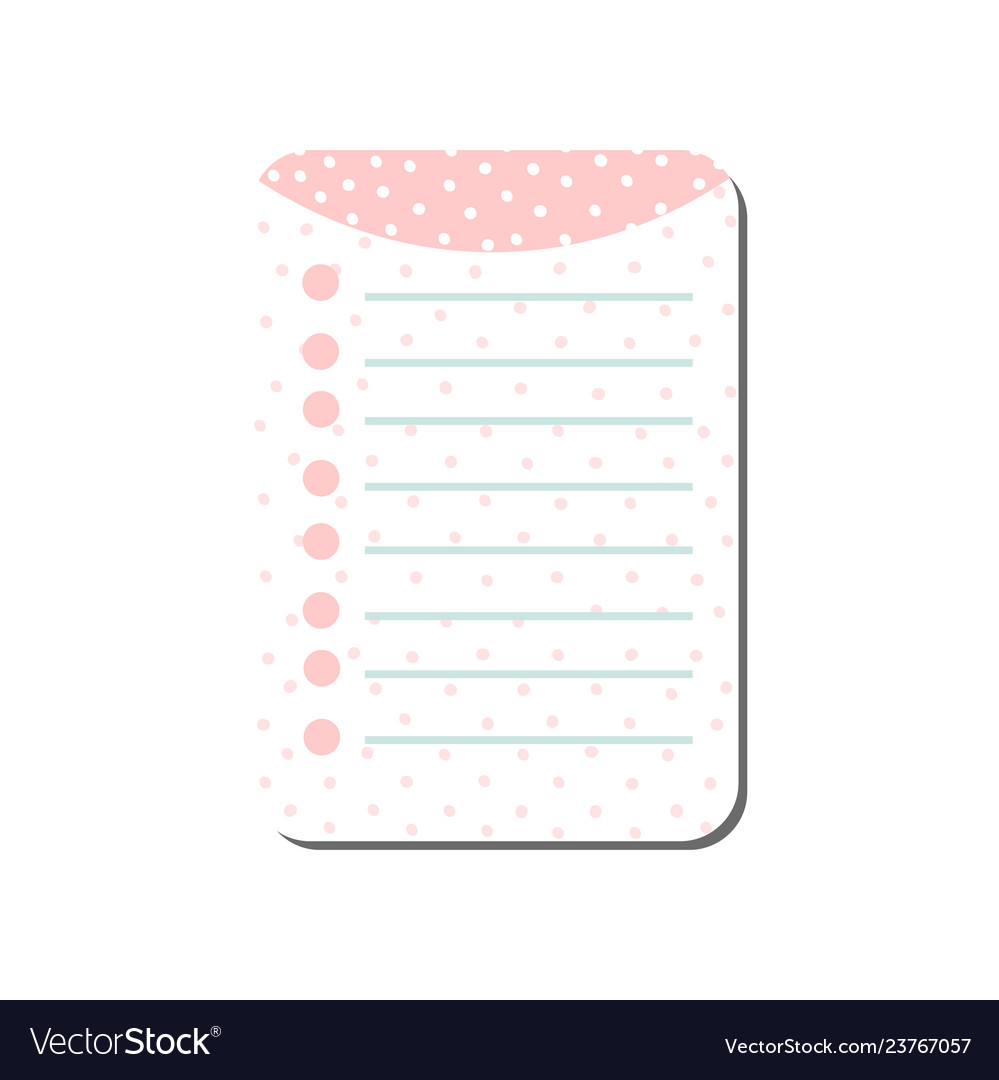 Cute card with place for notes in pink colors