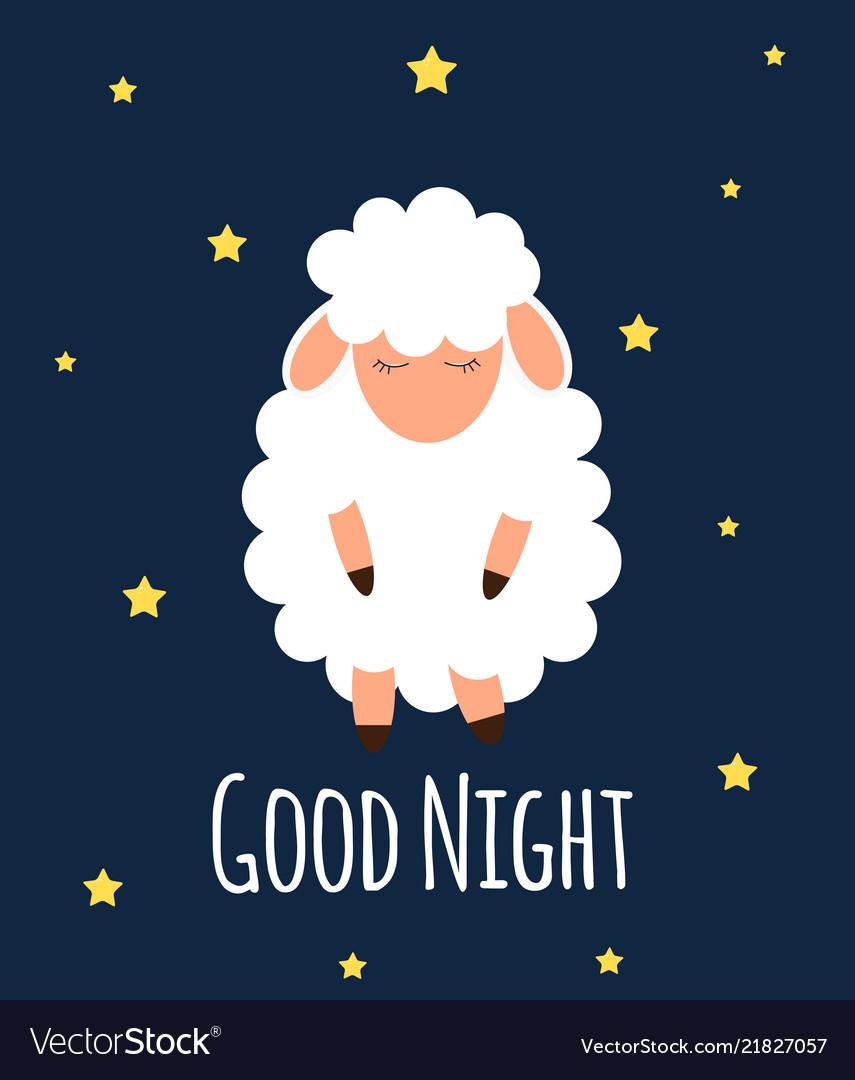 Cute little sheep on the night sky good night