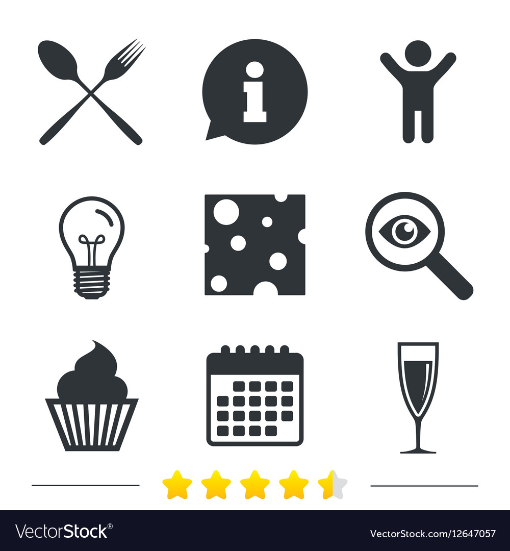 Food Icons Muffin Cupcake Symbol Fork Spoon Vector Image On Vectorstock