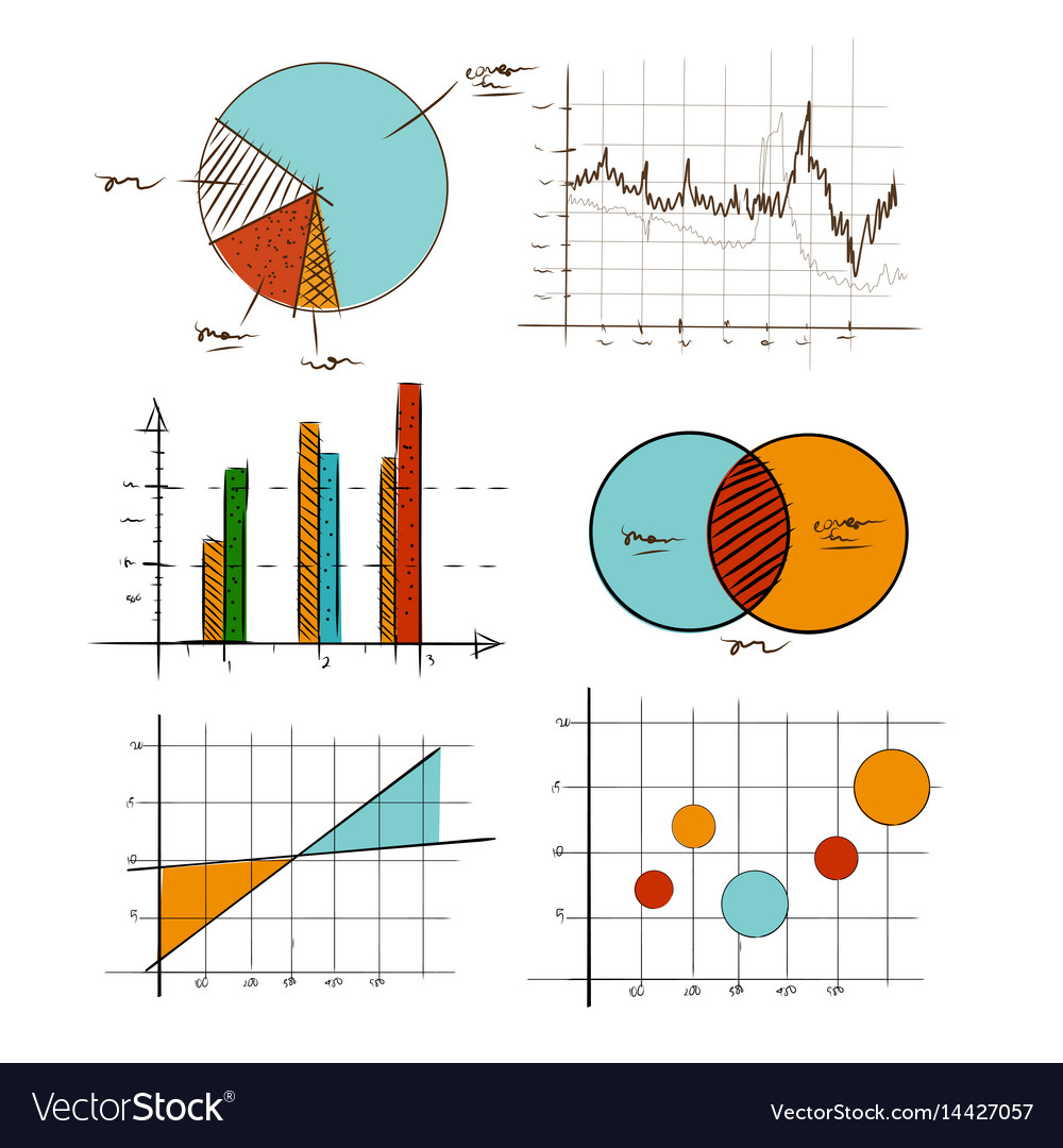 Hand drawing chart graphic collection set for