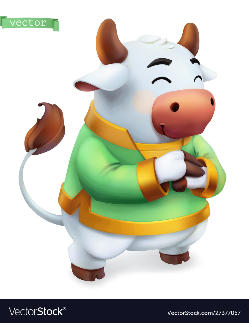 Ox bull funny animal in chinese zodiac