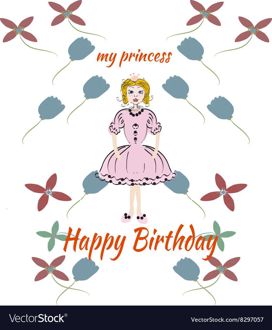 Princess pink birthday card