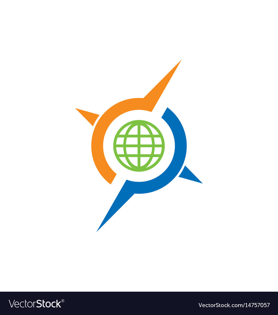 round globe arrow compass logo royalty free vector image