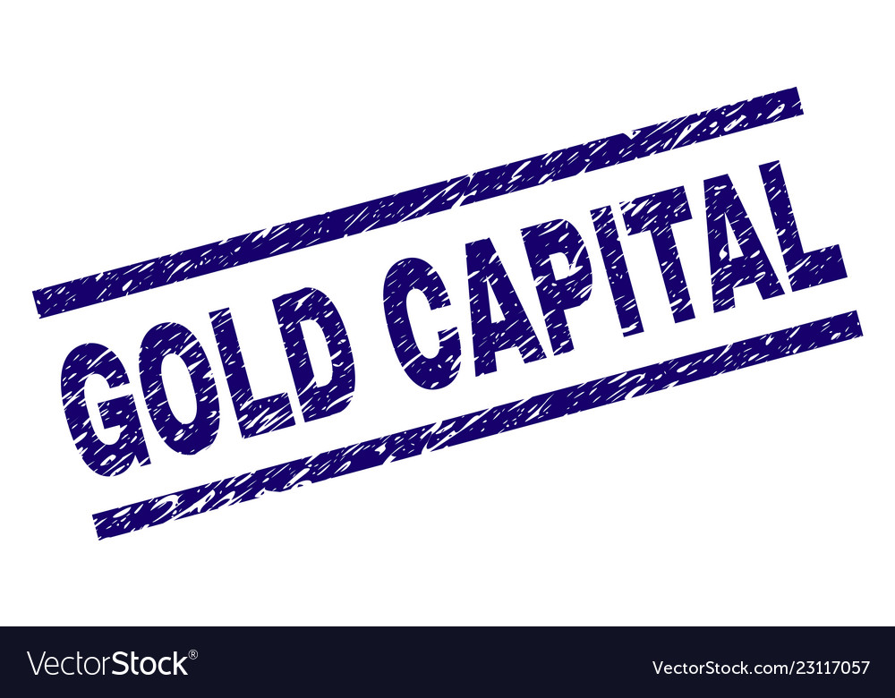 Scratched Textured Gold Capital Stamp Seal Vector Image