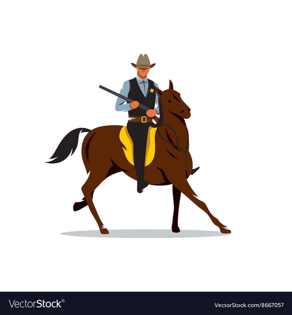 Sheriff with Gun and the Horse Cartoon