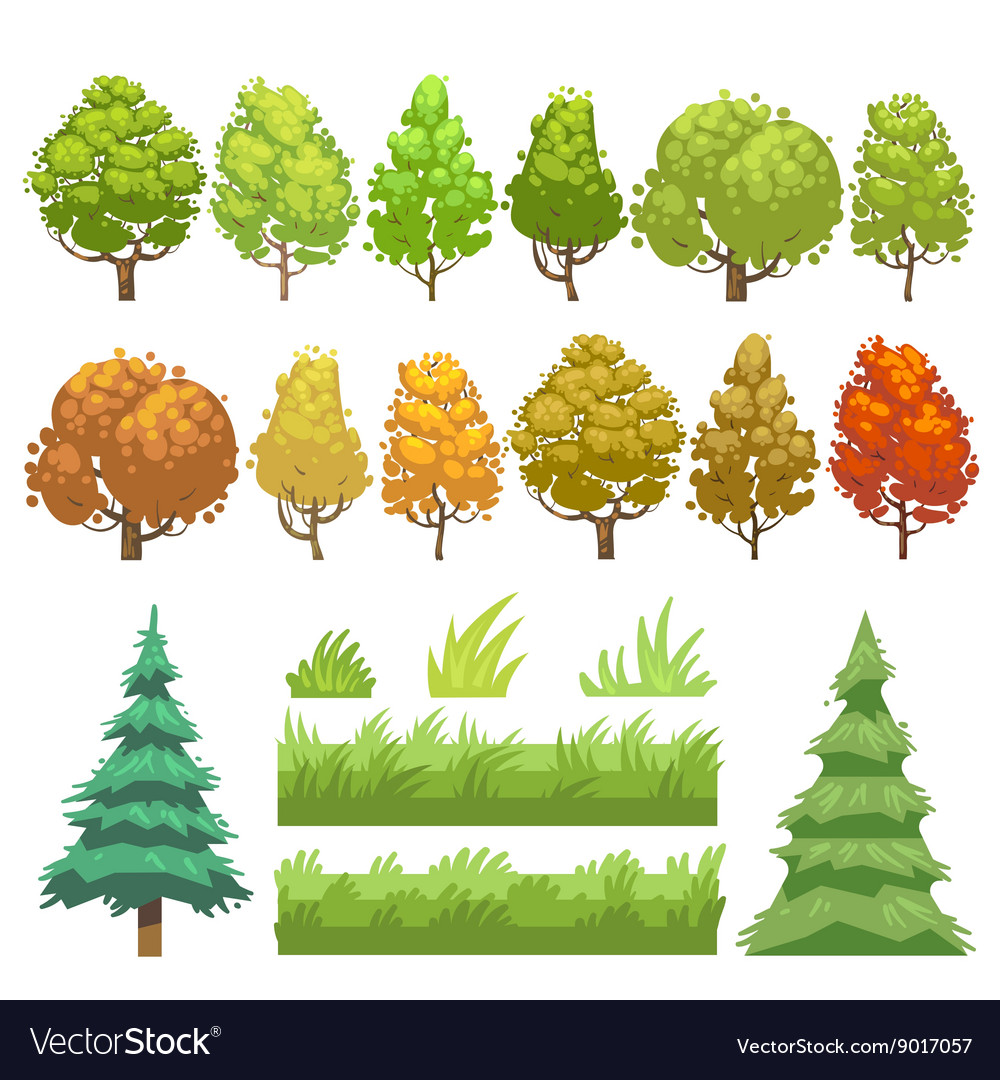 Trees and grass flat icons set