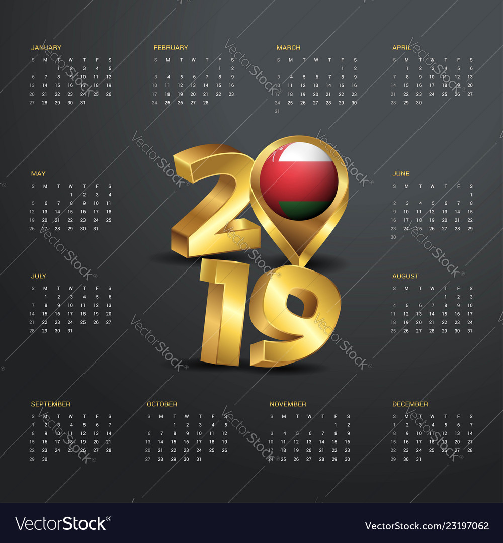 2019 calendar template golden typography with vector image