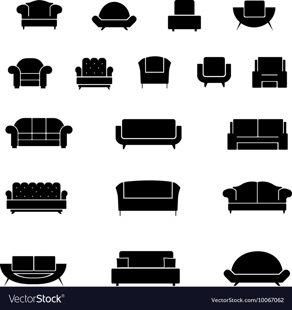 Armchair chairs sofa and couch icons set