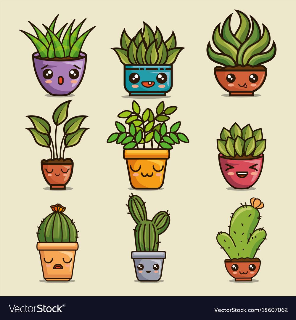 Cute lovely kawaii house plants cartoons Vector Image