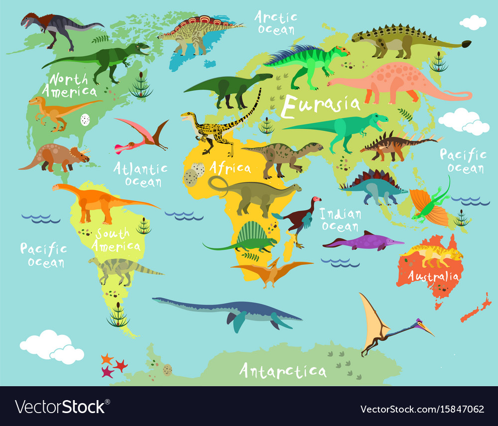 Dinosaurs map of the world royalty free vector image dinosaurs map of the world vector image gumiabroncs Gallery