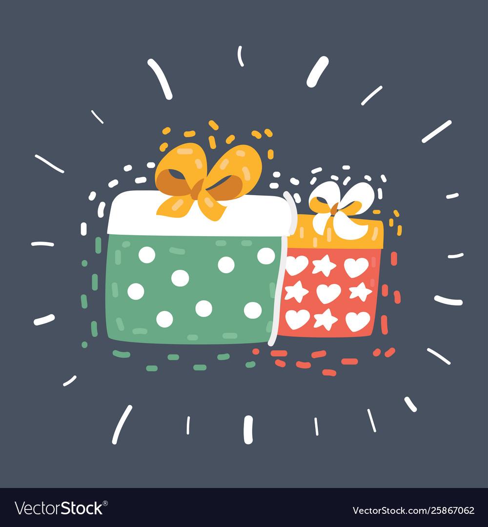 Gift box on dark