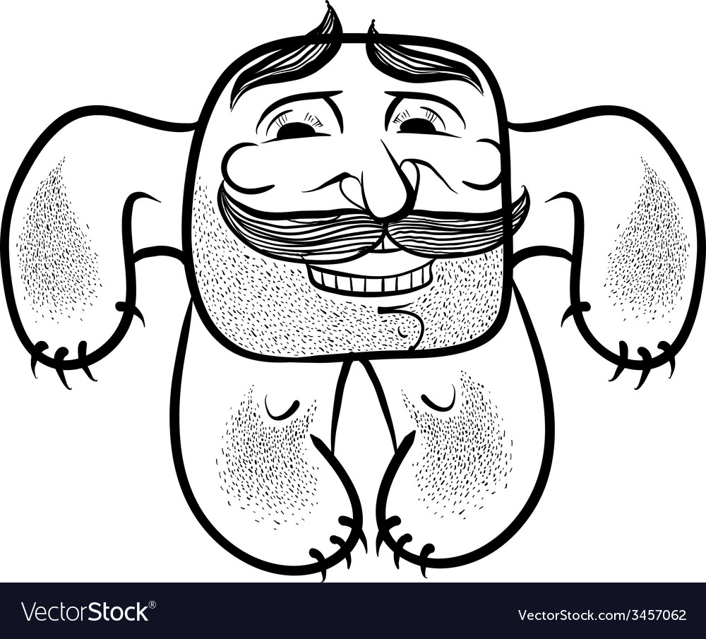 Happy cartoon monster with mustaches black and