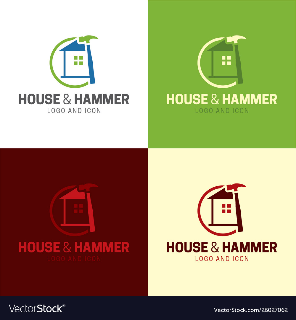House and hammer handyman logo and icon