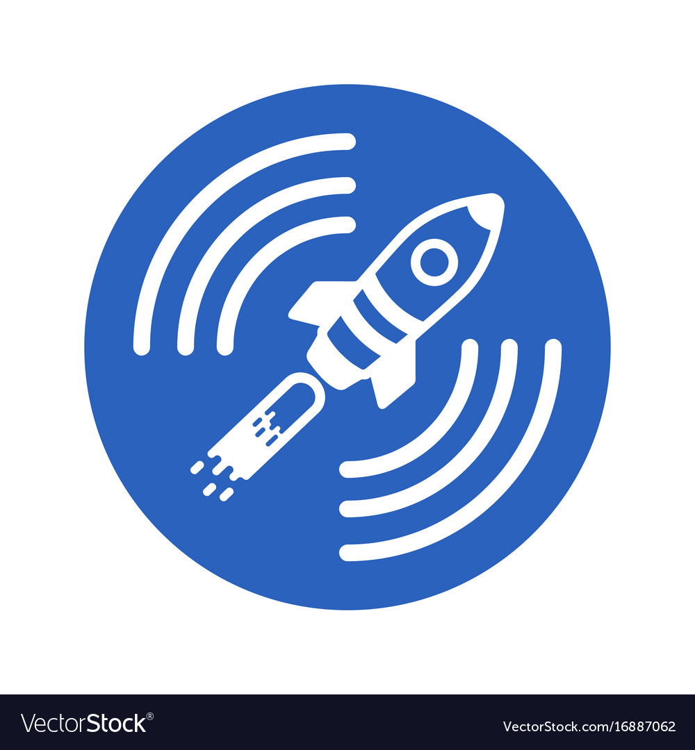 Icon of a satellite rocket in a blue circle on a