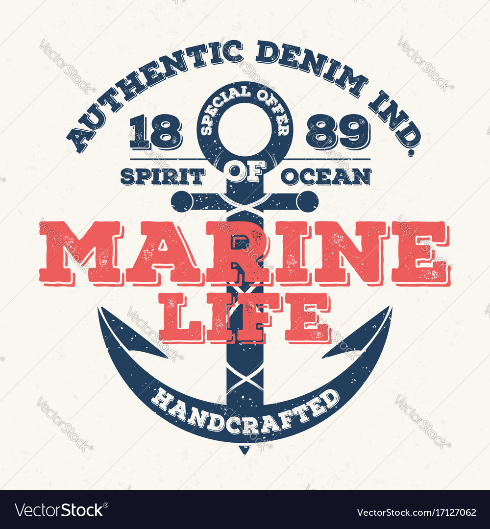 Marine life vintage typography for t shirt print