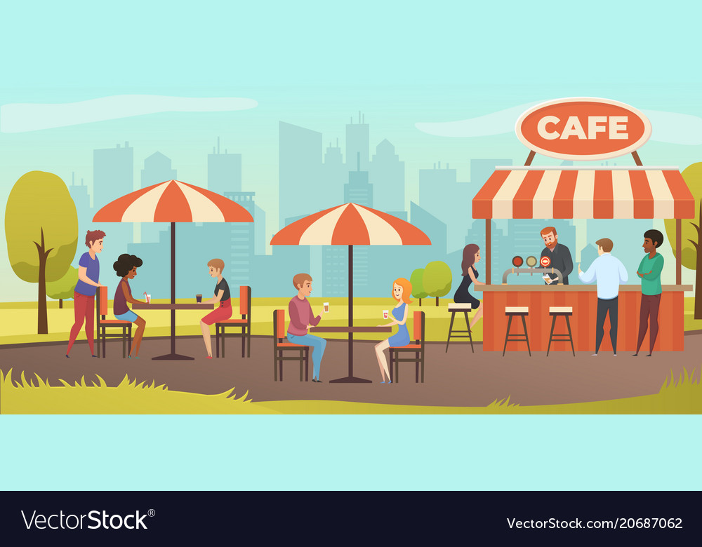 People drink coffe in outdoor street cafe