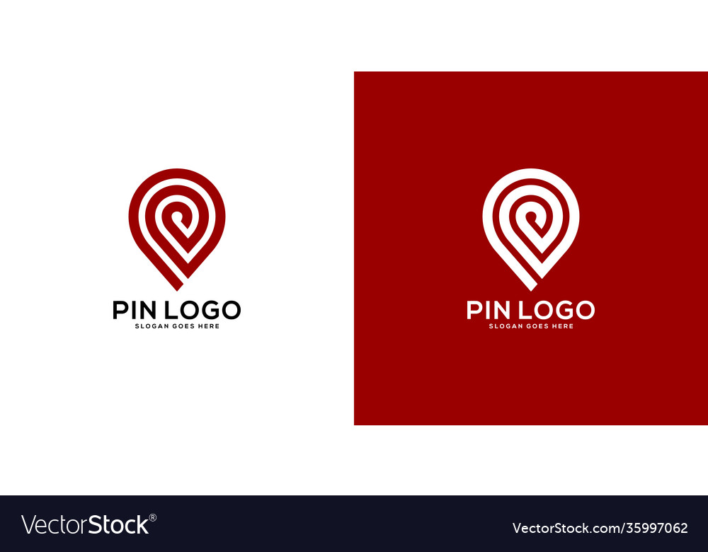 Pin location out line logo design