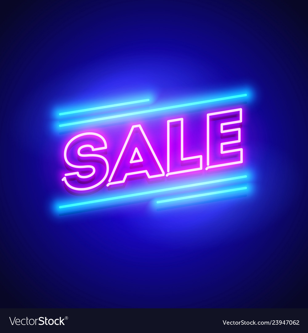Retro sale offer neon sign