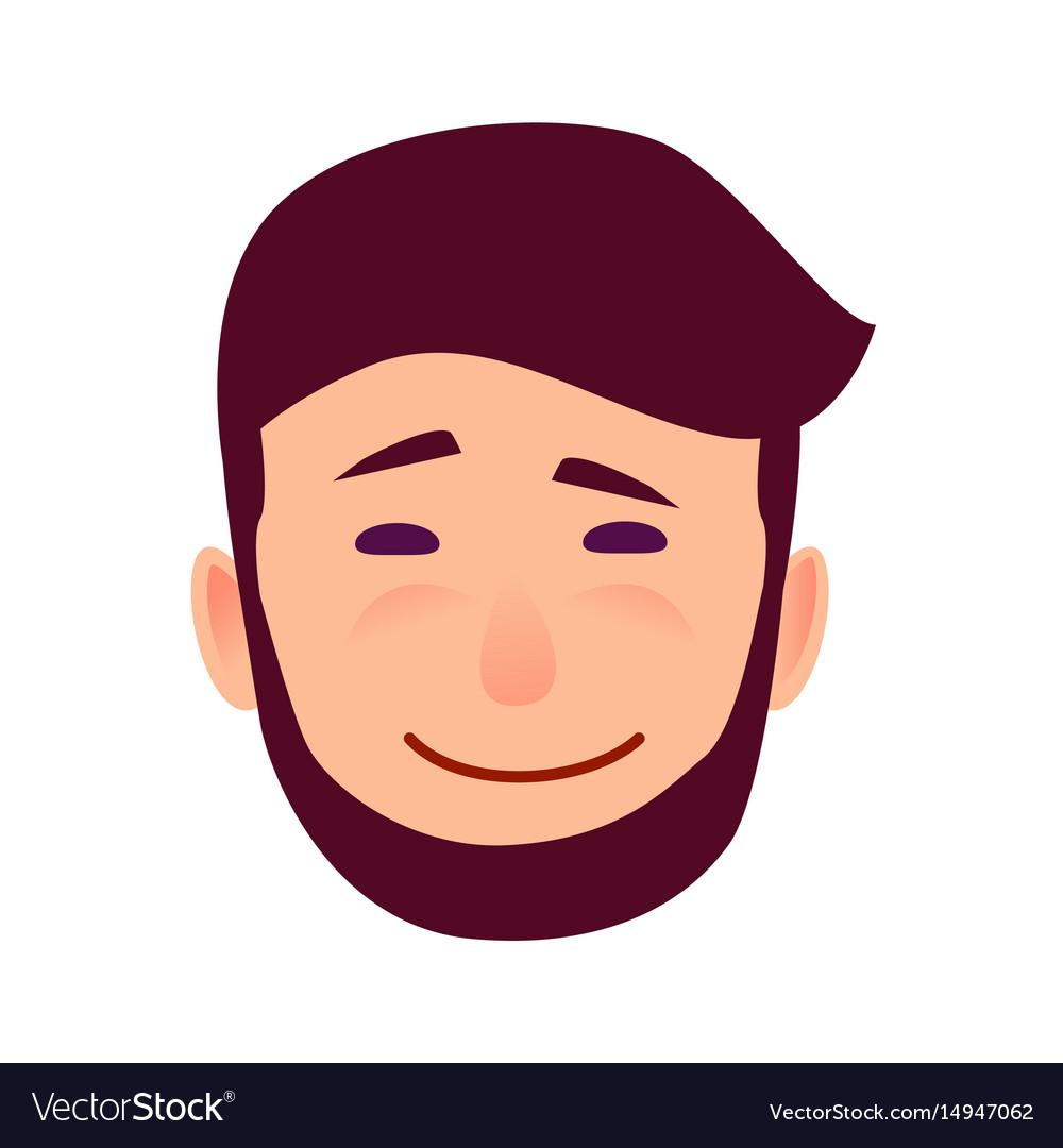 Sarcastic smile on cartoon man face vector image