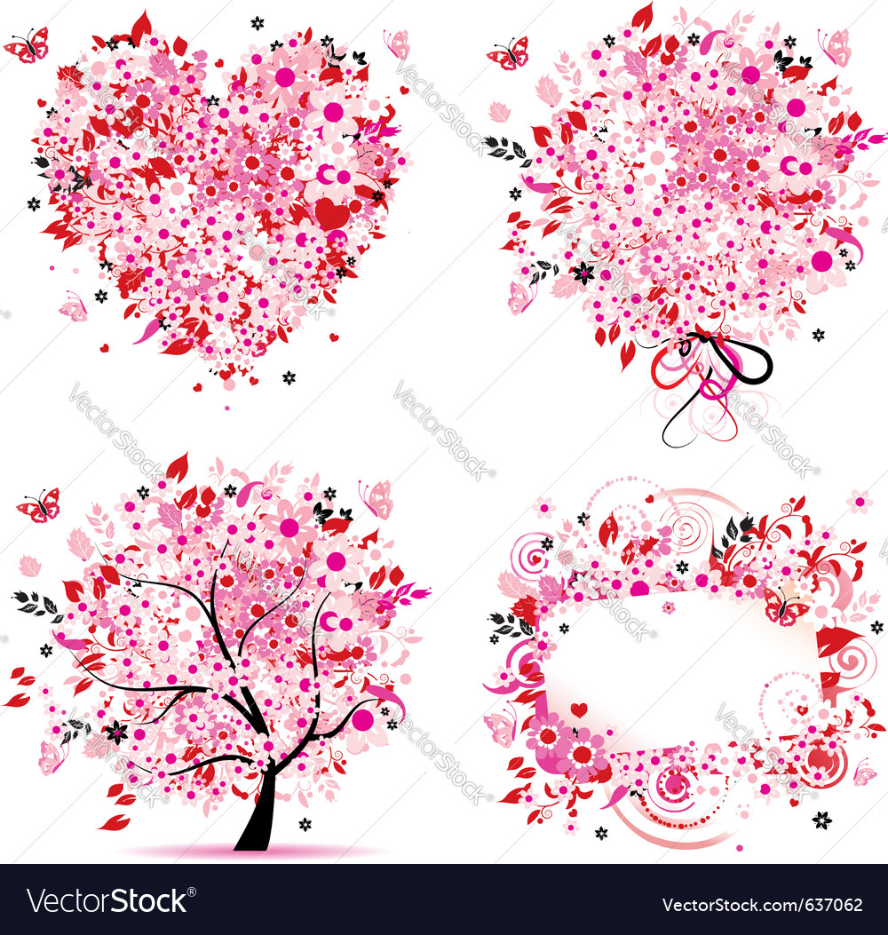 Summer pink tree frame vector image