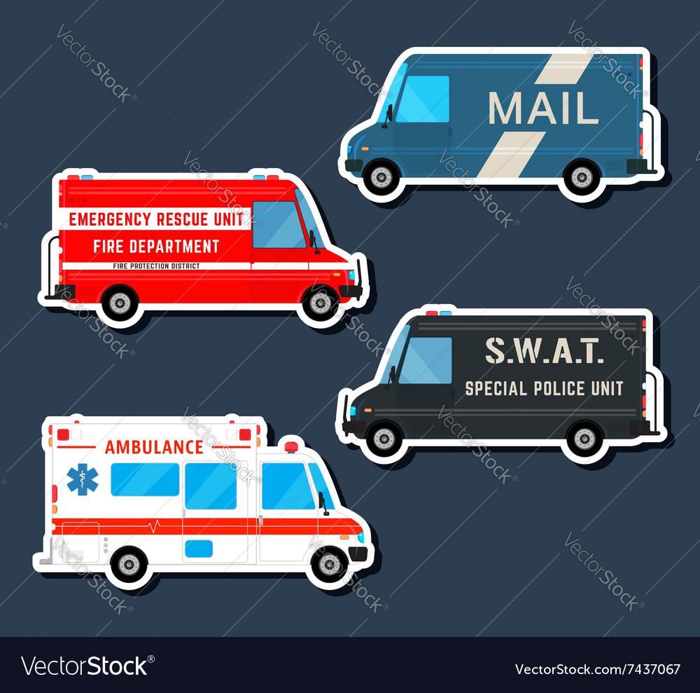 Bus service set vector image
