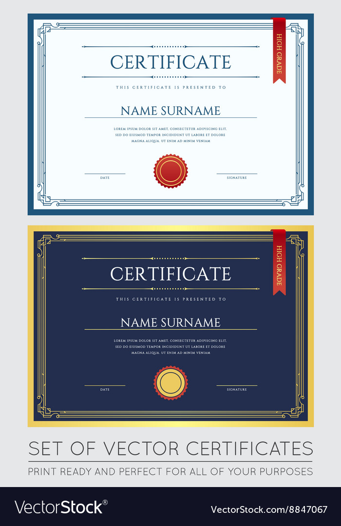 Certificate or Diploma Template ready for Print or