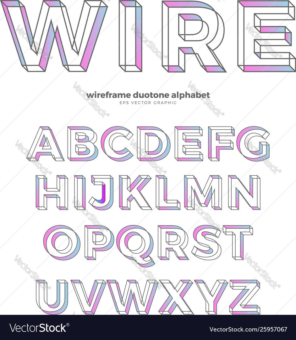 Color wireframe alphabet