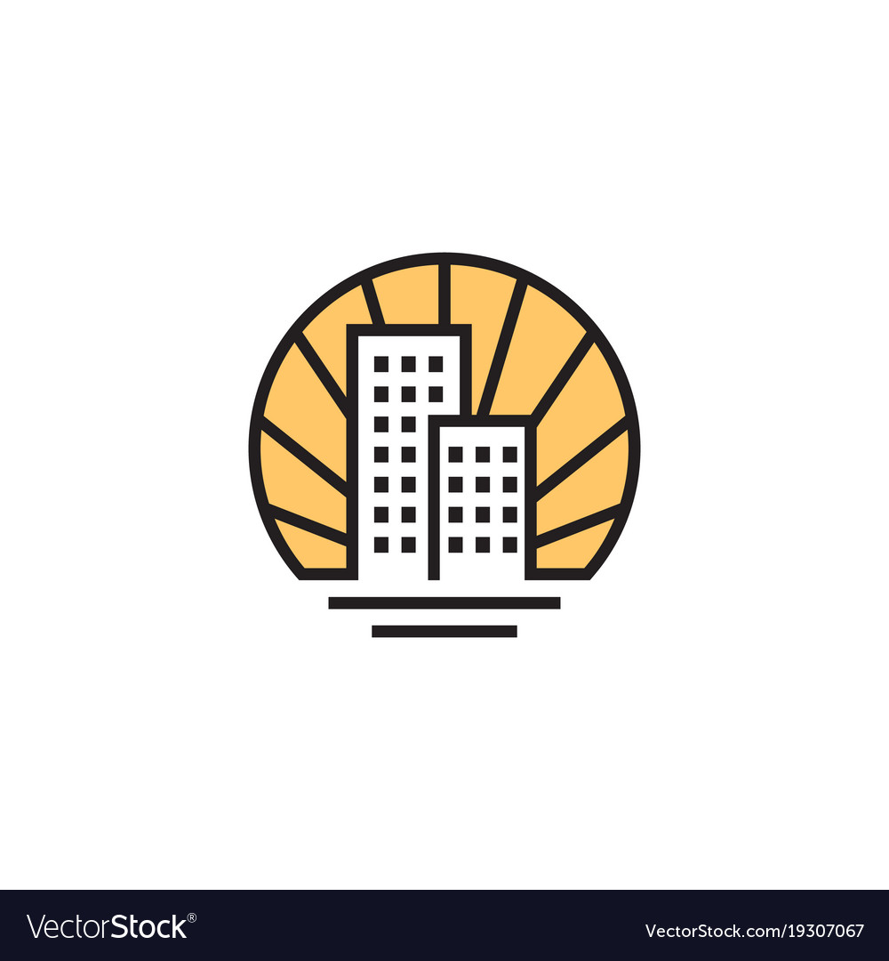 Home real estate house linear logo vector image